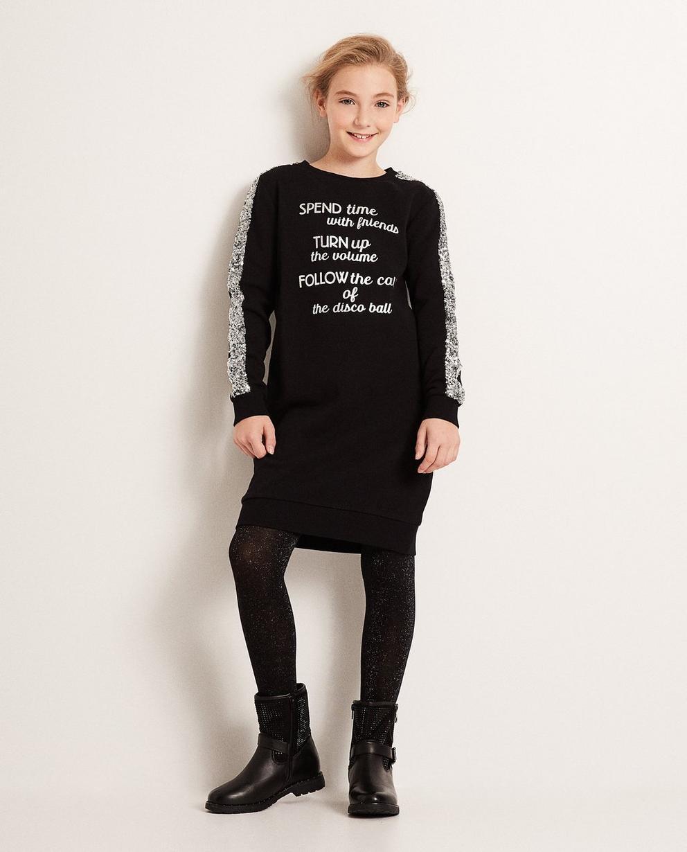 Schwarzes Sweatkleid - mit Pailletten und Aufschrift - JBC